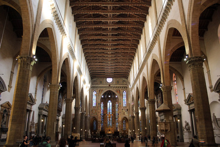 dante alighieri: Santa Croce cathedral, inside view, Florence, Italy