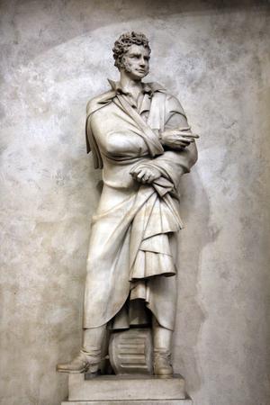 Ugo Foscolo, italian poetry, tomb monument in Santa Croce church, Florence, Italy