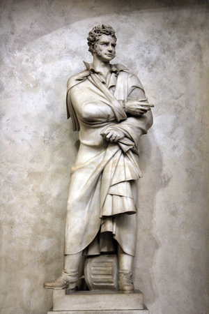 Ugo Foscolo, italian poetry, tomb monument in Santa Croce church, Florence, Italy