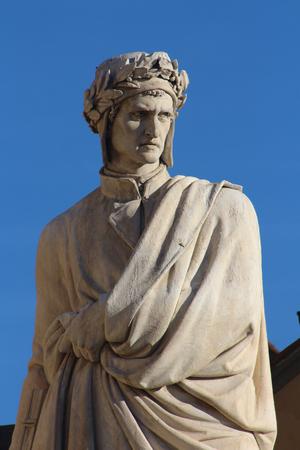 dante alighieri: FLORENCE, ITALY - JUNE 2016, Santa Croce Square, Monument of Dante Alighieri, detail Editorial