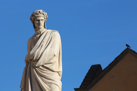 FLORENCE, ITALY - NOVEMBER, 2015: Dante Alighieri monument, Santa Croce square