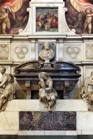 FLORENCE, ITALY - NOVEMBER, 2015: Michelangelo Buonarroti monumental tomb, Santa Croce square