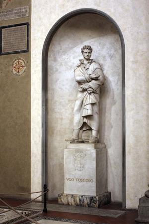 FLORENCE, ITALY - NOVEMBER, 2015: Ugo Foscolo monumental tomb, Santa Croce square