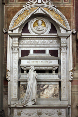 FLORENCE, ITALY - NOVEMBER, 2015: Gioacchino Rossinis monumental tomb, Santa Croce cathedral