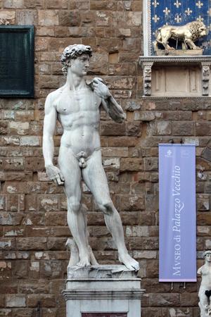 michelangelo: David of Michelangelo, Signoria Square, Florence, Italy