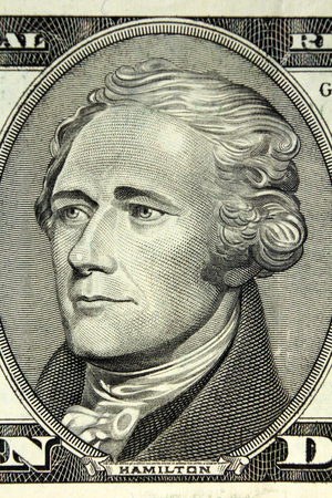 alexander hamilton: UNITED STATES OF AMERICA - Alexander Hamilton portrait on engraving from US Dollars Banknote Archivio Fotografico