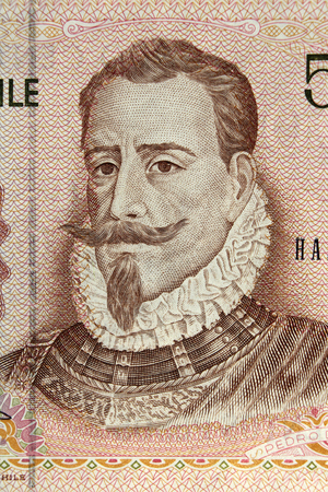 approximately: CHILE - Approximately 1987: Pedro de Valdivia portrait on 500 Pesos 1987 Banknote from Chile Stock Photo