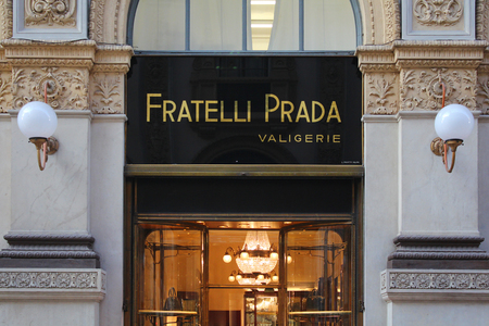 internships: MILAN, ITALY - DECEMBER 2015: Brothers Prada store, Vittorio Emanuele II gallery, historical teaches Editorial
