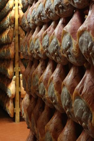 maturing: parma ham maturing room Stock Photo