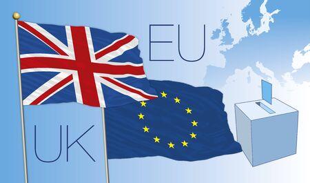 the european economic community: brexit vote, uk and european flags