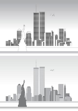 WTC 세계 무역 센터, 9 월 11 일, 뉴욕 스카이 라인 일러스트