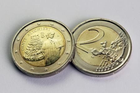 dante alighieri: Two euro coins, commemorative Dante Alighieri, Italy Stock Photo