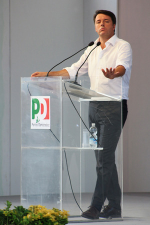 governing: MODENA, Italy, SEPTEMBER, 2016: Matteo Renzi, public politic conference Democratic Party Convention Editorial