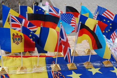 leu: Moldova flag with european and us flag
