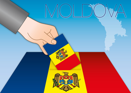 Republic of Moldova, elections, ballot boxes with flags