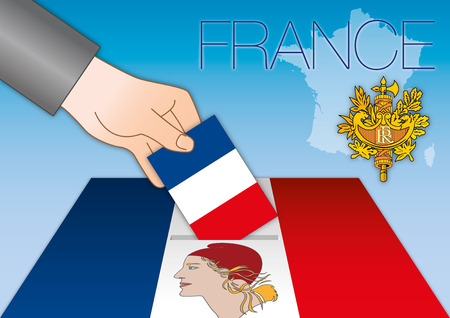 marianne: France, elections, ballot boxes with flags Illustration