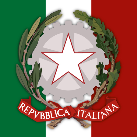 Italy, Republic of Italy, coat of arms and flag Illustration
