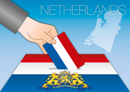 Netherlands, elections, ballot boxes with flags Illustration