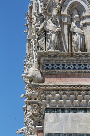 Siena, Tuscany, Italy, cathedral details of the facade Stock Photo