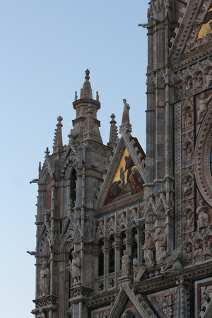 Siena, Tuscany, Italy, details of the facade of the cathedral sculptures