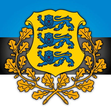 Estonia coat of arms and flag