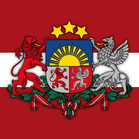 Latvia coat of arms and flag