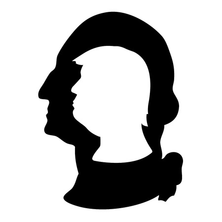 Donald Trump en George Washington silhouetportret Stockfoto - 70912033
