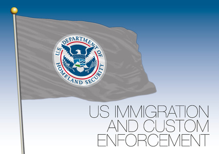 US Immigration and Customs Enforcement flag, United States of America Illustration