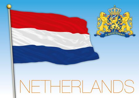 Kingdom of The Netherlands flag and coat of arms