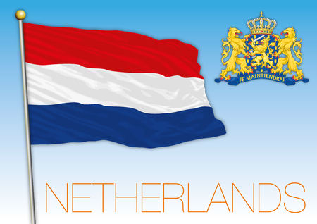 Netherlands flag and coat of arms, dutch symbols