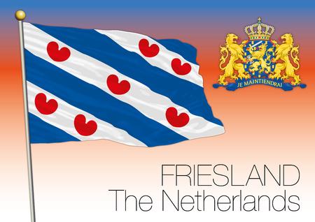 Regional flag Friesland Netherlands, European union. Illustration