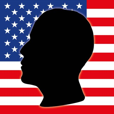 Barack Obama and US flag silhouette