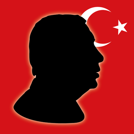 syria peace: ANKARA, TURKEY - APRIL 2017 - Turkish constitutional referendum in 2017, Erdogan silhouette portrait with flag