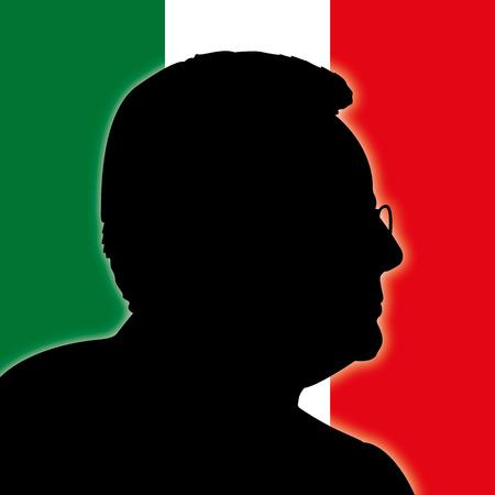 ROME, ITALY, JUNE 2017 - President Sergio Mattarella portrait silhouette with Italy flag