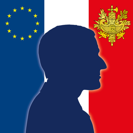 PARIS, FRANCE, ELECTIONS MAY 2017 - The new President of the Republic of France Emmanuel Macron, silhouette