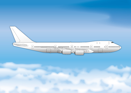 Boeing 747 passenger plane, drawing, illustration