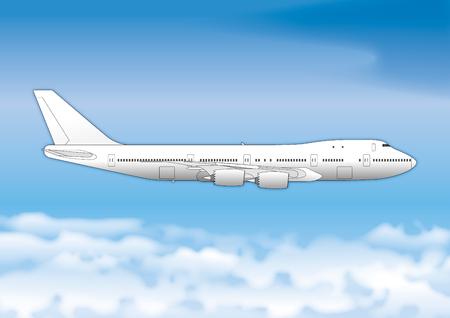 Boeing 747 passenger plane, drawing, illustration
