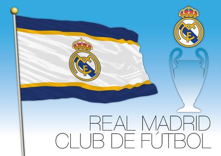 striker: CARDIFF, UNITED KINGDOM, JUNE 2017 - Final Champions League Cup, Flag of Real Madrid Footbal Club Editorial
