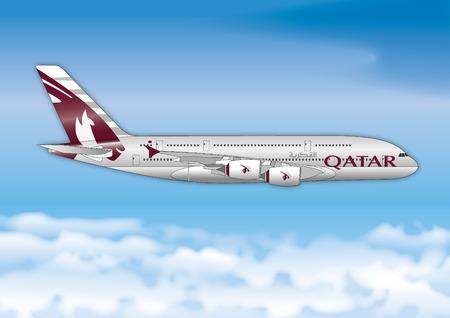 카타르 항공, 항공 여객 라인, 벡터 파일, 일러스트 레이션