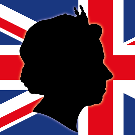 northern european: Queens Elizabeth The Second Silhouette with UK flag