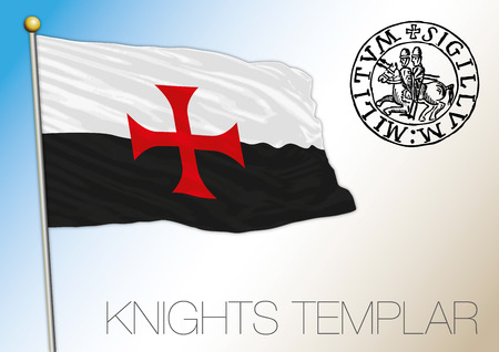 Historical flag of the Knights Templar in the Crusades Illustration