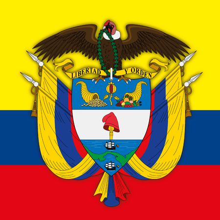 Colombia Republic coat of arms and flag 版權商用圖片 - 84293015