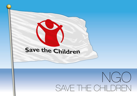 MEDITERRANEAN SEA, EUROPE, YEAR 2017 - Flag of Save the Children, International Non-Governmental Organization Involved in Immigrants Rescue Editorial