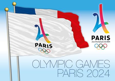 PARIS, FRANKRIJK, JAAR 2017 - Parijs kandidaat voor de Olympische Zomer, Parijs 2024 vlag en logo met Frankrijk vlag