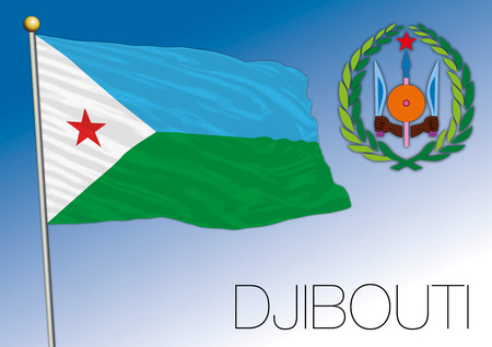 djibouti: Djibouti flag and coat of arms, vector file, illustration Illustration