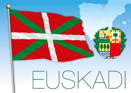 Basque flag, coat of arms and map Illustration