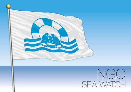 MEDITERRANEAN SEA, EUROPE, YEAR 2017 - Flag of Sea Watch, International Non-Governmental Organization Involved in Immigrants Rescue