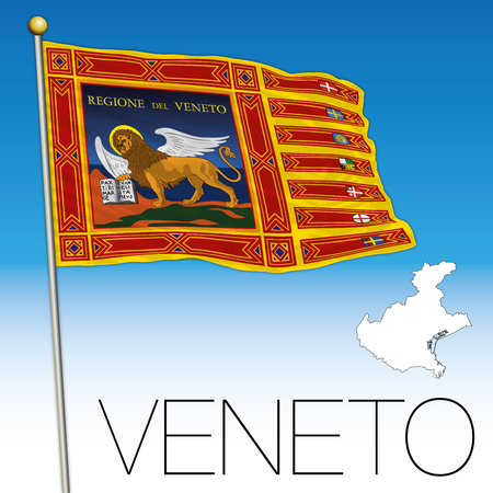 Veneto flag and map, Italy, Flag of Saint Marc Illustration