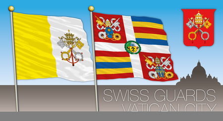 Swiss guards, Vatican City, flags and coats of arms of the Holy See