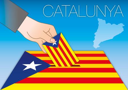 Una urna de Cataluña, bandera y mapa con la mano. Foto de archivo - 83672544